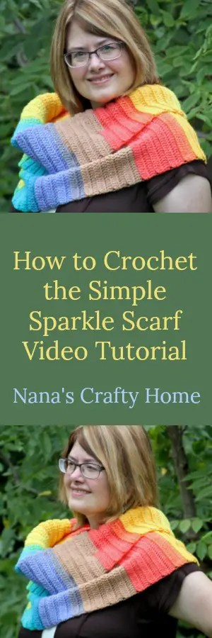 Simple Sparkle Scarf free crochet pattern video tutorial