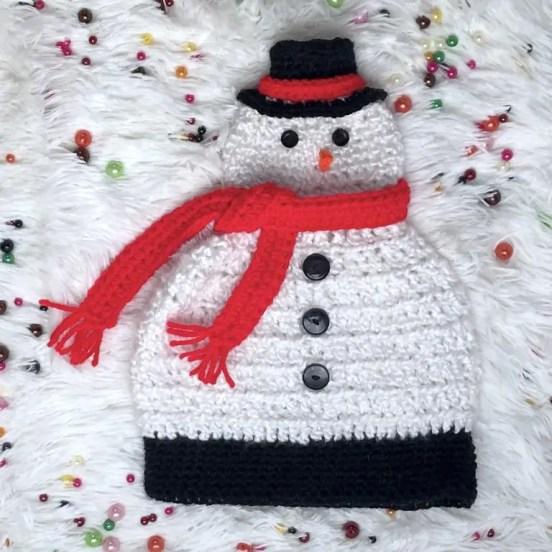 Light Me Up Snowman Hat Free Crochet Pattern