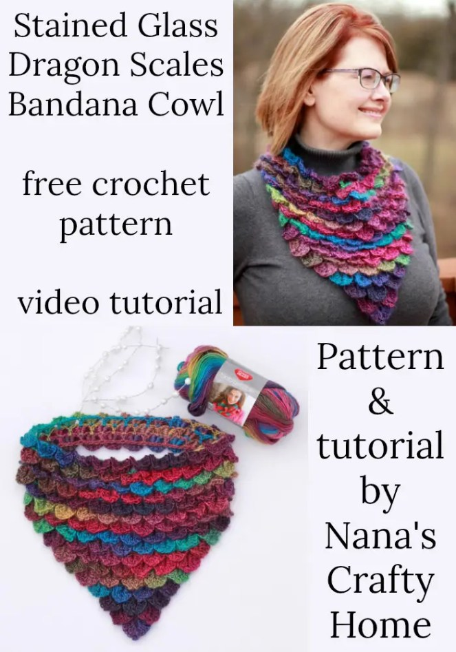 Stained Glass Dragon Scales Bandana Cowl free crochet pattern video tutorial