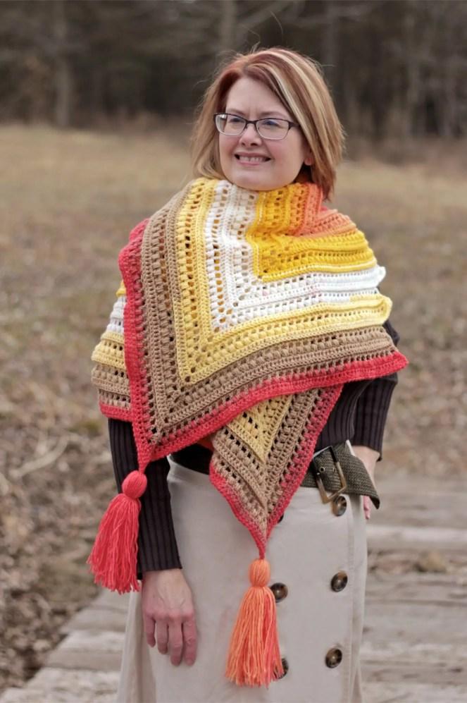 Wrap Me in Sunshine Shawl free crochet pattern