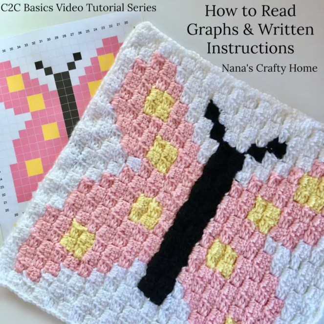 Butterfly C2C Square Easter Blanket Graphgan Crochet a Long (CAL)