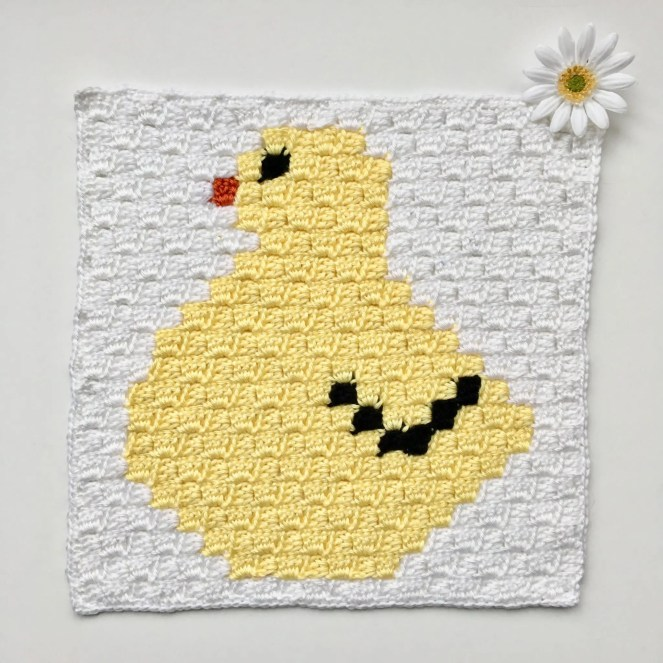 Chick C2C Square Easter Blanket Grapghan CAL Part 6 Free crochet pattern