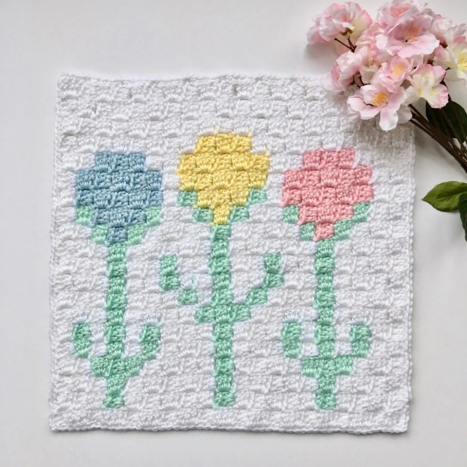 Tulips C2C Square Easter Blanket Graphgan CAL Part 9