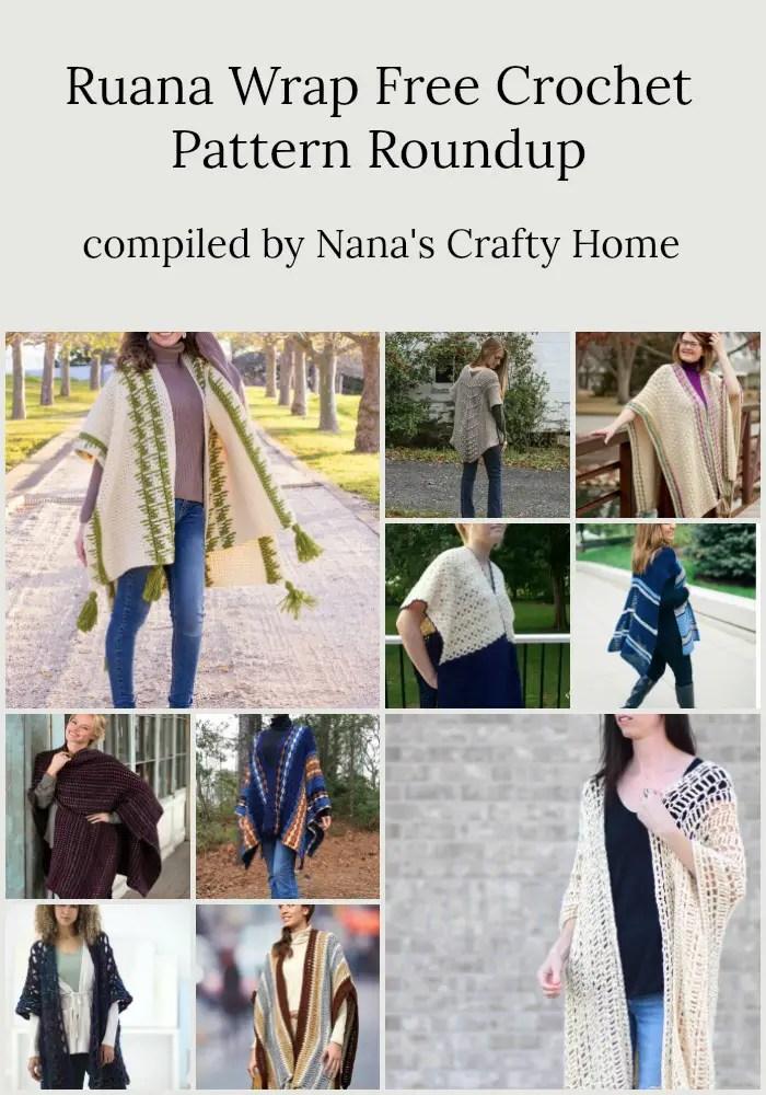 Ruana Wrap free crochet pattern roundup