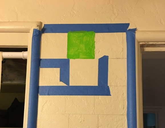 blue tape on wall