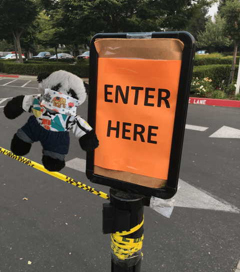 a Panda and Enter sign