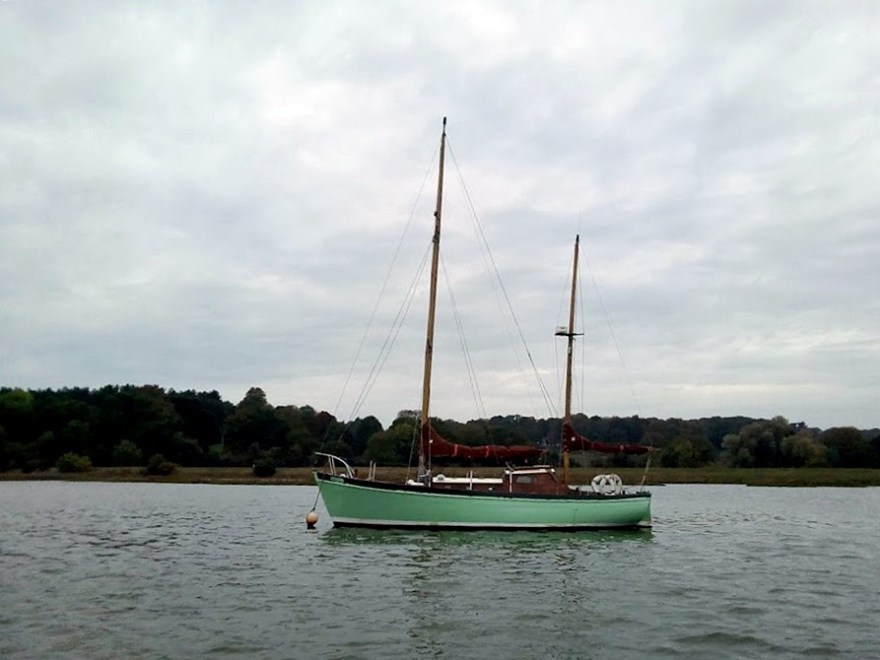 Peter Duck moored off Broomheath, Woodbridge, 19 Oct 2017. Photo by John Smith.