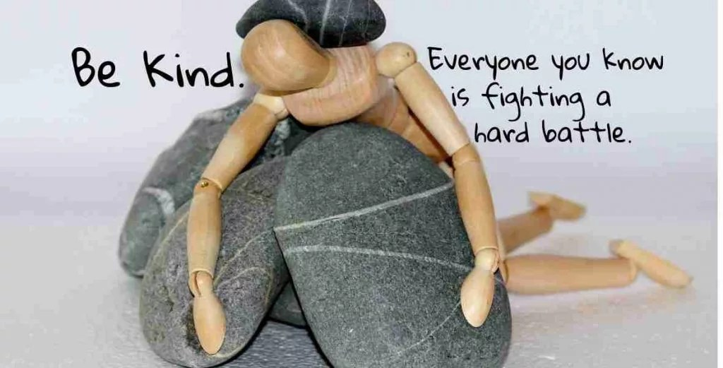 person with rocks on back reads be kind everyone you know is fighting a hard battle