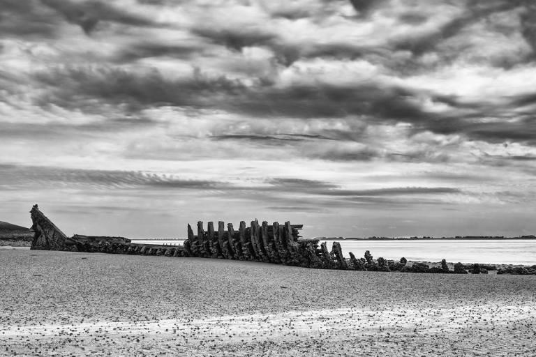 zwart/wit fotografie, scheepswrak
