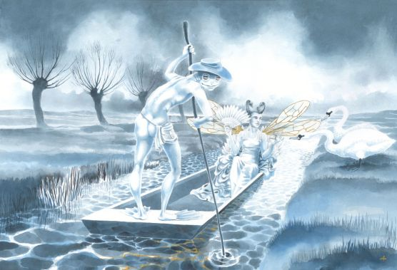 'The Fairy Barge' - painting in watercolour and gold leaf by Nancy Farmer