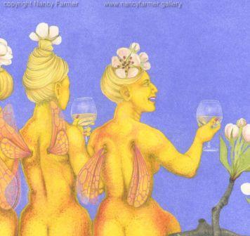 Perry Pear Fairies - in gouache andpencil