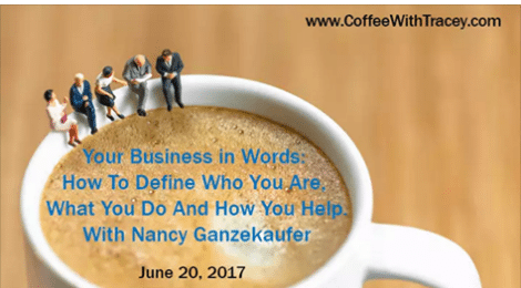 Nancy has been featured on Coffee With Tracey