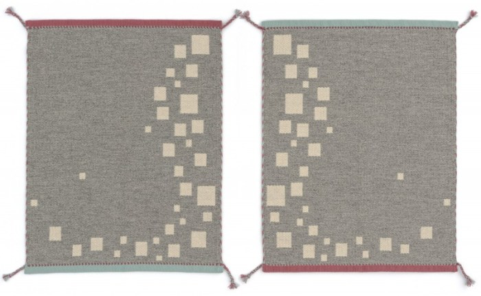 Rocks in a River (back) - handwoven wool rug by Nancy Kennedy