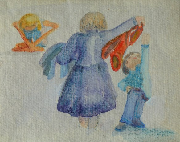 A drawing in crayon of a teacher passing out what looks like coats but is actually magic suits, in different colors.