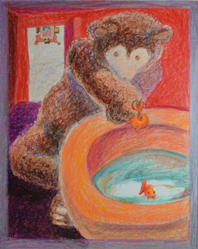 A bear and an orange toilet bowl with a goldfish swimming inside.