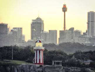 Forced perspective brings Sydney Tower right up to Hornby Lighthouse.