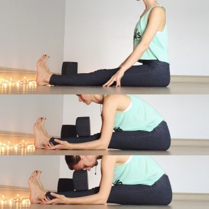 Starting in staff pose, take several breaths to fold forward. Using props to bring the earth up to you.