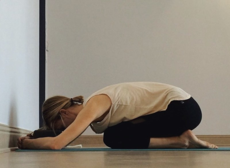 Yin Yoga at the Wall - Childs Pose