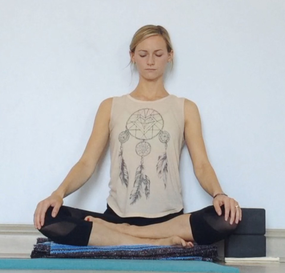 Yin Yoga at the Wall - Sukhasana