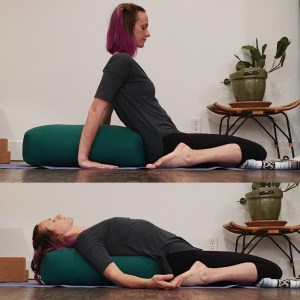 reclined pose on a bolster without a prop under hips