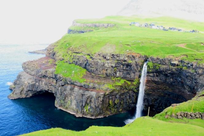 waterfall gásadalur faroe islands