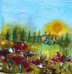 Under a Tuscan Sun, watercolour/ink on canvas, 6x6