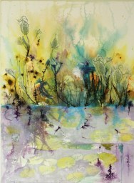 Peng, Softly on the Pond, watercolour, ink, woodblock, 30x22, paper on wood panel,$900