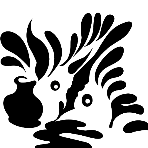 2 birds emerge in a plume of ink that spills from an ink pot with a pen between them.