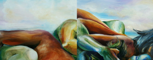 Entwined figures spread across two panels form a dramatic landscape of hills, valleys and water.
