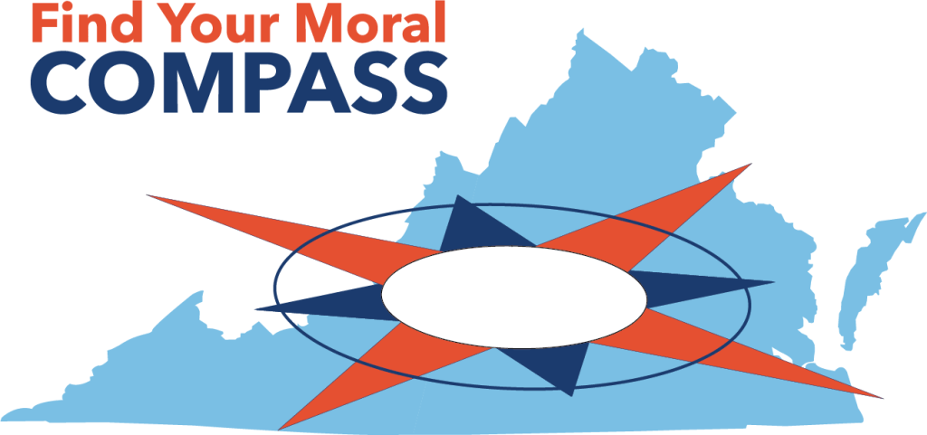 A compass rosette lies on top of a map of Virginia with Find Your Moral Compass written above.