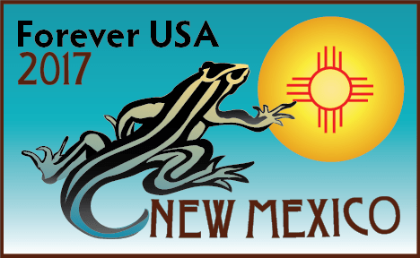 A whiptail lizard reaches out to the Zia Sun Symbol with art deco letters that read Forever USA 2017, New Mexico.