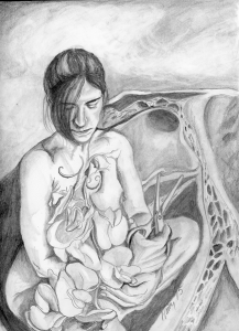 Said Flora to Her Sweet Peas, graphite on paper, 2015.