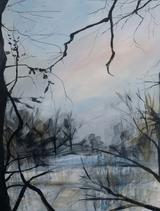 Dreamlike view of an opening in a winter orchard, with tangled vines and limbs that frame composition