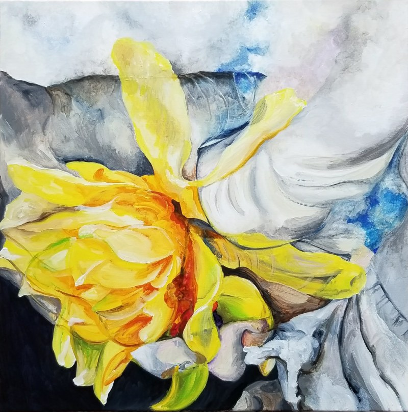 A daffodil blooms from the hands of two lovers with clouds swirling around their hands.