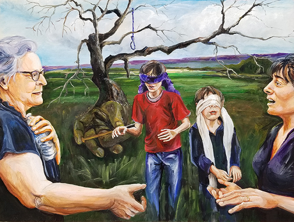 Two mothers reach across to each other from either side of the picture as two blindfolded boys stumble in the middle foreground. A dead tree with roots that look like a hand with a needle has a blue noose in its branches. This all takes place in a field with the Blue Ridge in the distance.