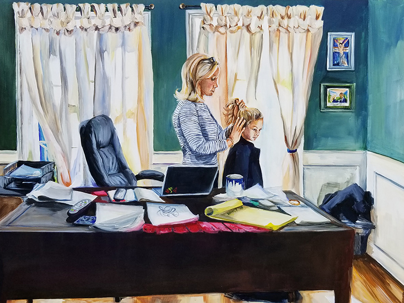 A woman with blond hair stands behind her desk, backlit by two large windows with cream curtains in a dark green room, as she combs her daughter's hair. On her desk lay various sheafs of paper and a laptop computer.