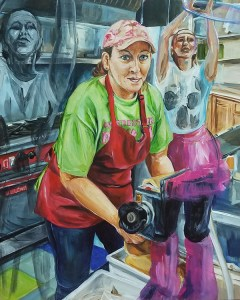 A woman in a bright green shirt, red apron and dark blue jeans works a sheet of dough through a table-top, light industrial pasta machine sheeter, as she stares out with bright blue eyes under her pink ball cap with ghost images of herself dancing in the moonlight with a hoop and a pink tutu.
