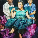 A brunette with short hair in an off the shoulder, teal green dress with a full skirt sits like a queen in a teal green chair with two women, one in a white dress with black hair and another woman at her left shoulder in a blue lace dress with brown hair. Bessie Smith, Patsy Cline and Jess Eliot Myhre.