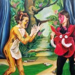 2 13-year-old women face each other on the stage set for the Lion King, Timon and Pumba.