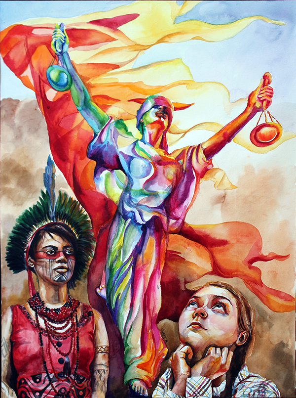 Justice in rainbow colors extends her arms into the air with a bright flag of red, orange and yellow behind her. At her feet are Artemesia Xakriabá and Greta Thunberg.