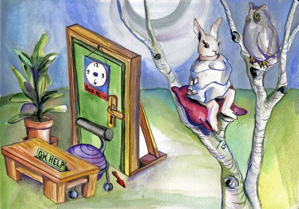"""A rabbit in a straight jacket sits in a tree with an owl. On the ground below, the door to her office is in another plane of reality. The sign on the door reads """"Back at..."""", but the time indicator has broken off. The sign on the desk reads """"GW Help""""."""