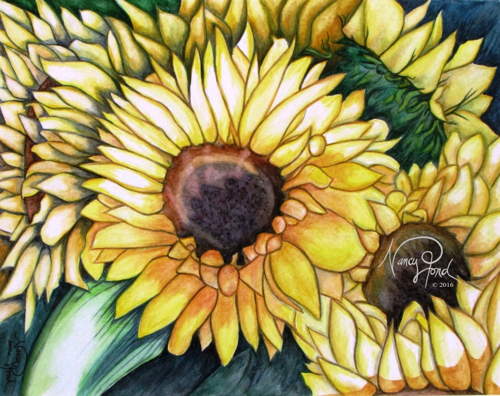 """Gift of Sunflowers"" - Watercolors on Paper (2016 11x14)"