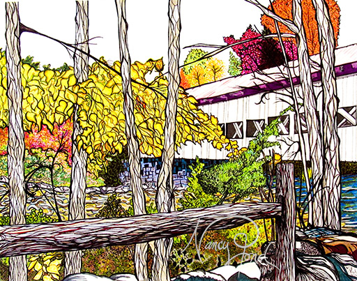 """""""Over Swift River NH"""" Ink and Watercolor on Paper (2015 11x14)"""