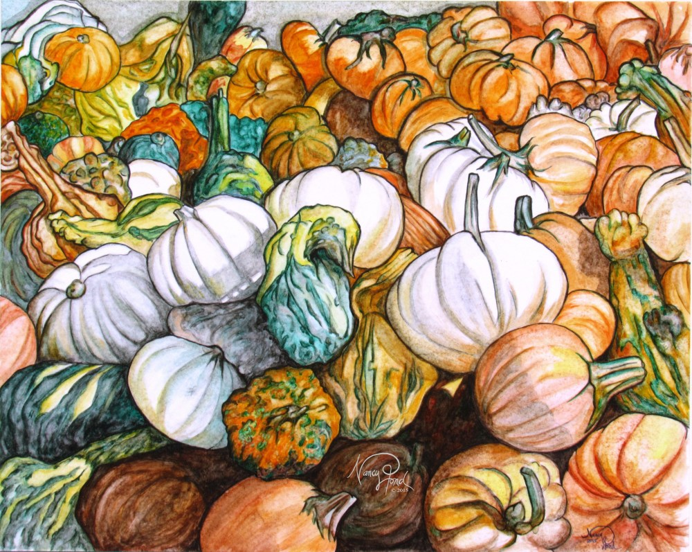 """Wilson's Farm Gourds"" Watercolors on Paper (2015 16x20)"