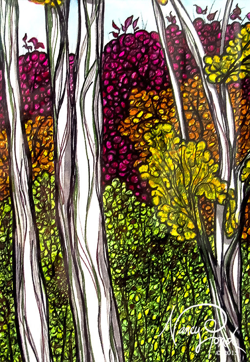 """NH Birches 2"" Watercolor and Ink on Paper (2015 5x7 -- In Private Collection)"