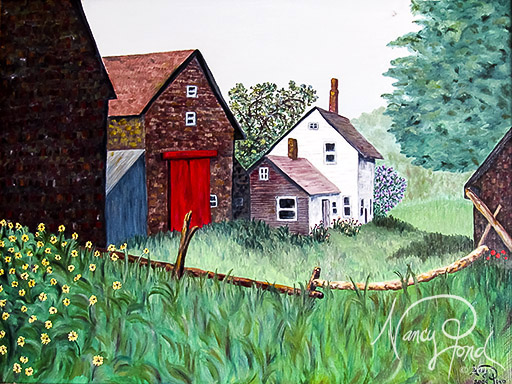 """""""Andover, NH Retired Farm"""" Oil on MFB (2009 24x36)"""