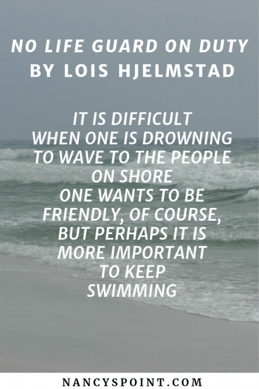 No Life Guard on Duty by Lois Hjelmstad, A Poem for National Poetry Month #poerty #poems #breastcancer