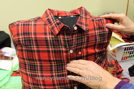 lumberjack pillow from a flannel shirt