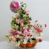 Arreglo floral rosado para baby shower