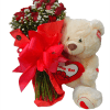 Ramo de rosas con peluche